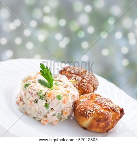 Appetizer - Russian Salad And Muffins