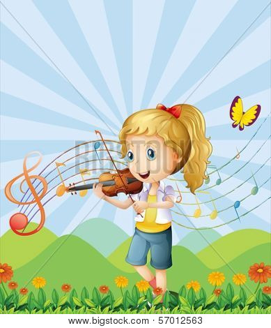 Illustration of a girl at the hilltop playing with her violin