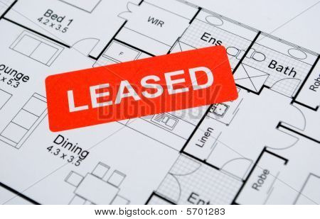 leased sign on house plan