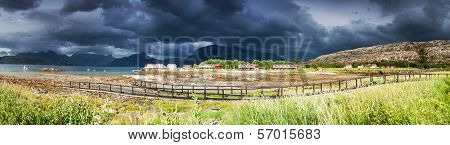 Panoramic Shot Of The Village Tarnvika In Northern Norway During Lowtide