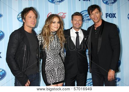 LOS ANGELES - JAN 14:  Keith Urban, Jennifer Lopez, Ryan Seacrest, Harry Connick Jr. at the American Idol Season 13 Premiere Screening at Royce Hall on January 14, 2014 in Westwood, CA