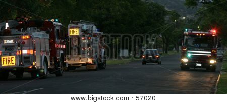 Firetrucks Responding To An Emergency...