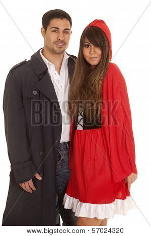 Man And Red Riding Hood Both Looking Smile