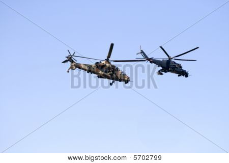 Rooivalk and Superhind attack helicopters