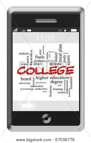College Word Cloud Concept On Touchscreen Phone