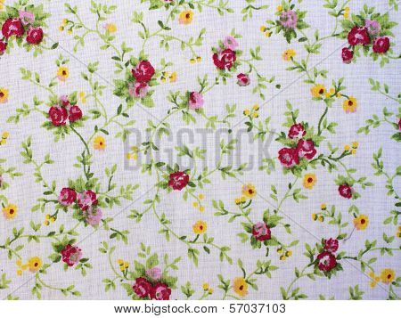 Fragment Of Colorful Retro Tapestry Textile Pattern With Floral Ornament.