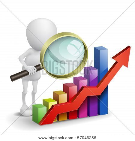 3d person with a graph financial and a magnifier poster