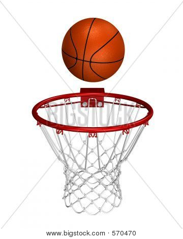 Rendered basket ball over the ring poster