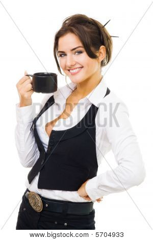 Woman Standing With Cup Of Coffee, Smile And Look At Camera