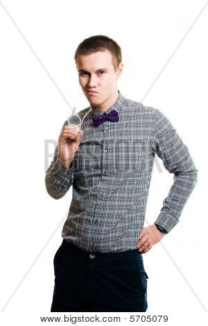 Embarrassed Young Man Holding Glasses