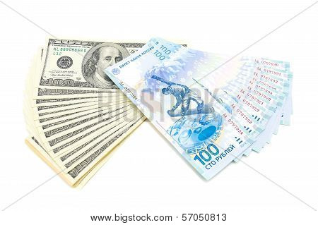 U.s. Dollars And Russian Rubles Isolated On White Background