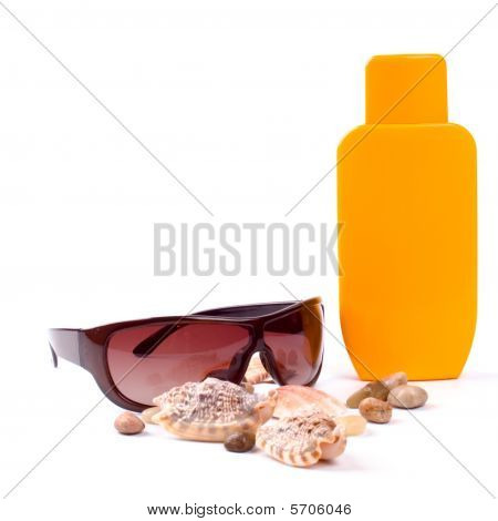 sunglasses and lotion closeup on white background poster