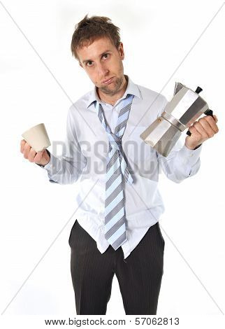 tired and messy business man with hangover holding coffee pot isolated on white background poster
