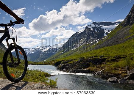 Mountain bike rider view