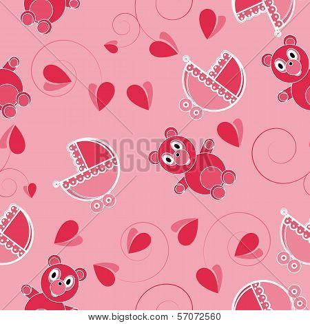 Children Pink Abstract Seamless Pattern