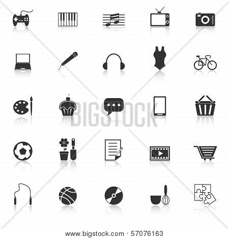 Hobby Icons With Reflect On White Background