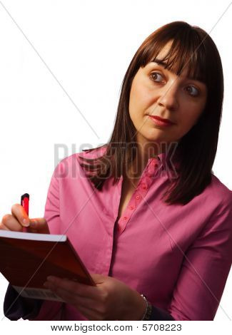 Woman Takes Notes And Observes