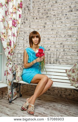 Lonely Girl With Flowers