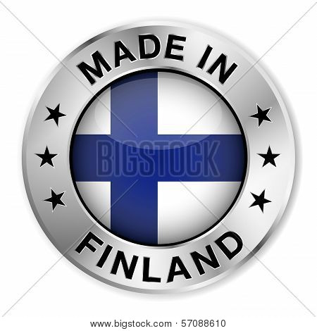 Made in Finland silver badge and icon with central glossy Finnish flag symbol and stars. Vector EPS10 illustration isolated on white background. poster