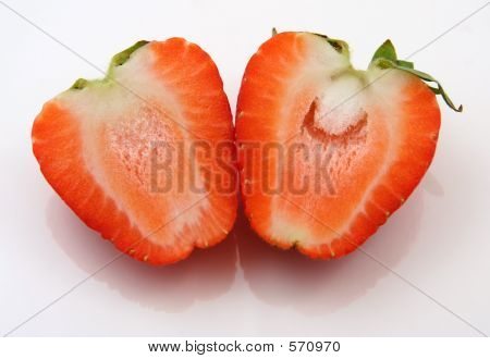Two Halves Of A Strawberry