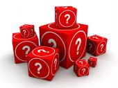 Group of big and small cube box with question mark 3d illustration poster