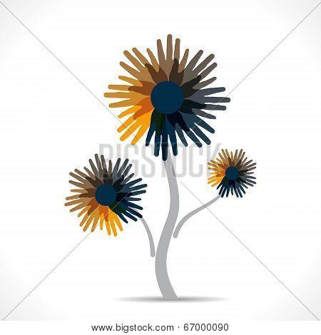 hand flower plant vector