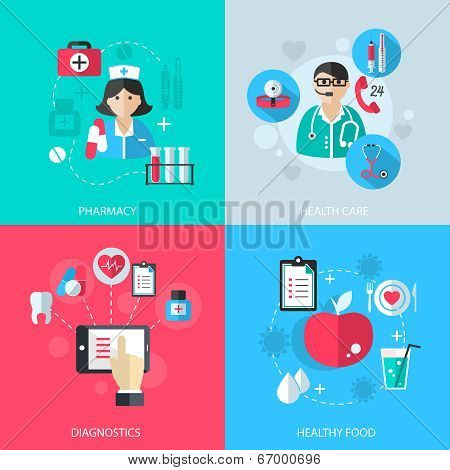 Medicine healthcare services concept flat icons set of medical technology pharmacy diagnostics and healthy nutrition food for infographics design web elements vector illustration poster