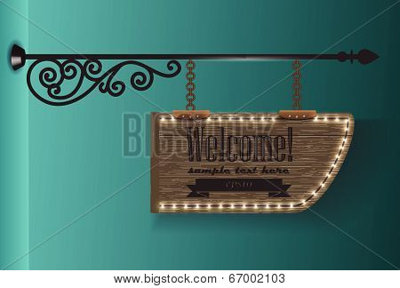 wooden sign on the chains / vector background 2