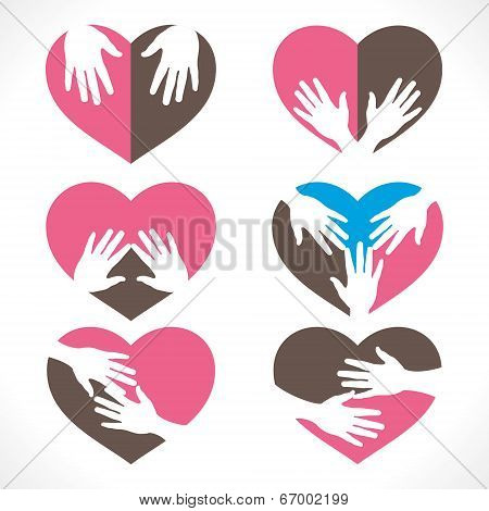 different hand heart shape collection vector
