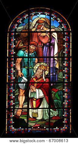 PARIS, NOV 07:St Rustique,Eleutherius and Denis,Notre-Dame de Clignancourt church located in the 18th arrondissement of Paris.Completed in 1863.Windows are from the Art Deco period.On Nov 07,Paris