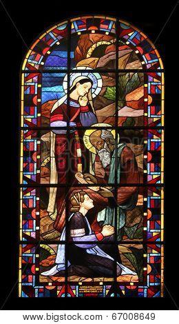 PARIS,FRANCE NOV 07:Saint Paule-Saint Jerome, Notre-Dame de Clignancourt church located in the 18th arrondissement of Paris. Completed in 1863. Windows are from the Art Deco period. On Nov 07 in Paris