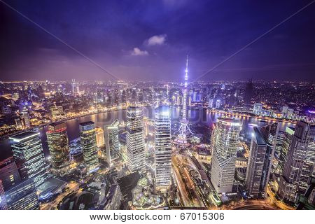 Shanghai, China aerial view of the Pudong financial district.