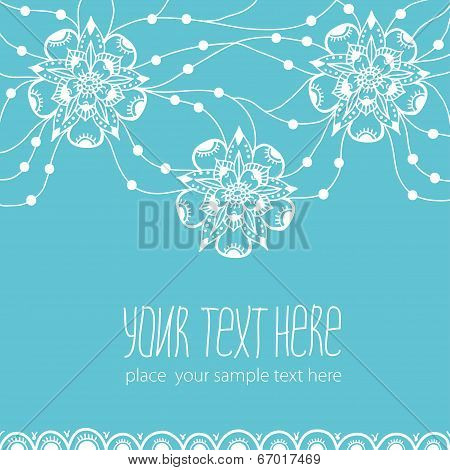 Template of greeting card with flowers.