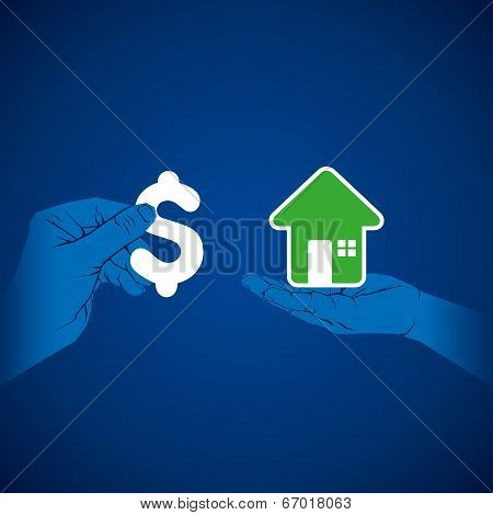 exchange money and home concept vector