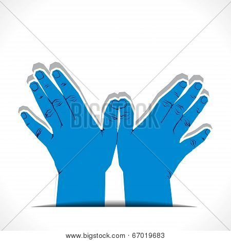 hand make flying bird shape vector