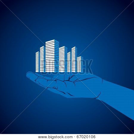 commercial building in hand vector