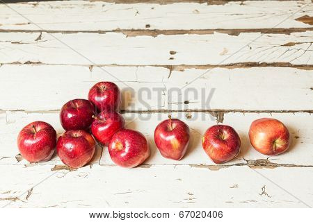 Apples On A White Vintage Background