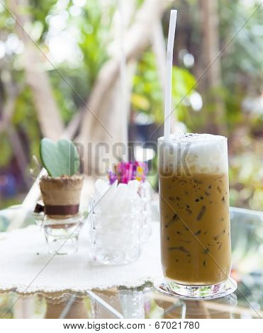 Cool Capuccino Coffee On Glass Table Use For Food And Beverage Theme