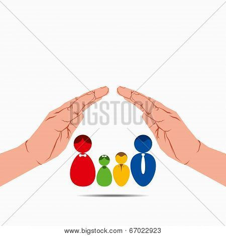 safe and secure family concept vector