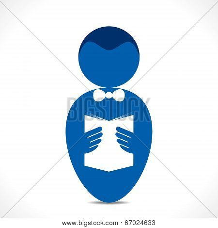 men holding and reading book icon stock vector