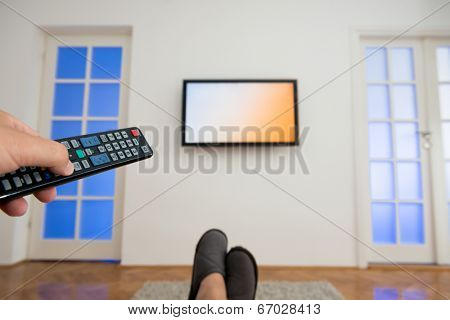 Watching TV in the living room