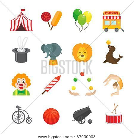Circus caravan rabbit elephant tricks and magical hat hocus pocus performance funny color icons set isolated vector illustration poster
