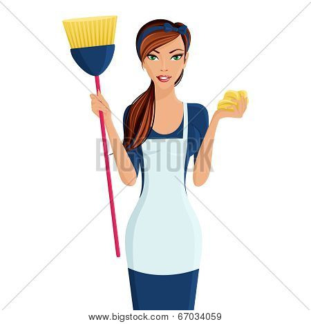 Young woman cleaner