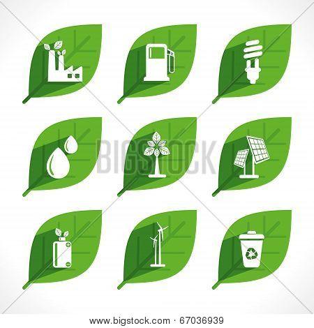 creative green energy or eco icon design concept vector