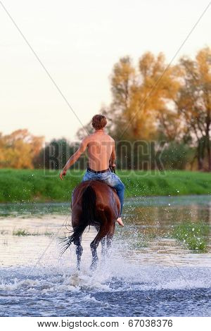 rider with a naked torso skips astride a horse