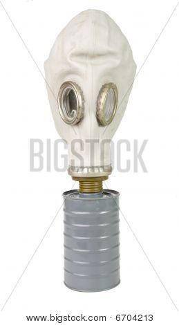 Gas Mask close up isolated on white background poster