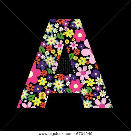 Vector flower font, letter A illustration art poster