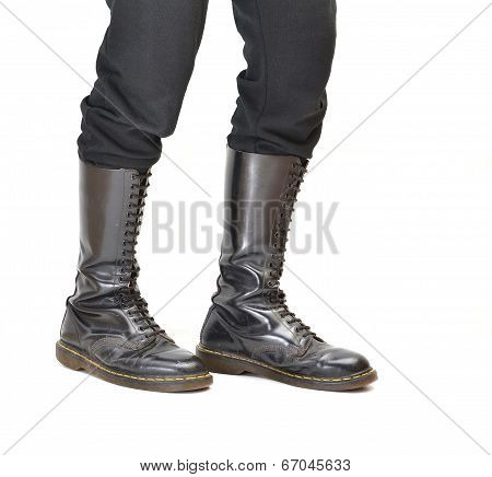 Pair Of Knee-high 20 Eyelet Black Lace-up Boots