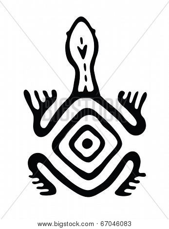 black turtle in native style, vector illustration