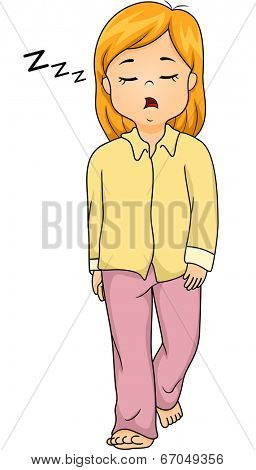 Illustration of a Girl Sleepwalking